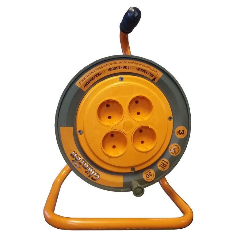 Удлинитель Glanzen ЕВ-50-003 50м 2х1мм 10А 2500Вт, 4 розетки
