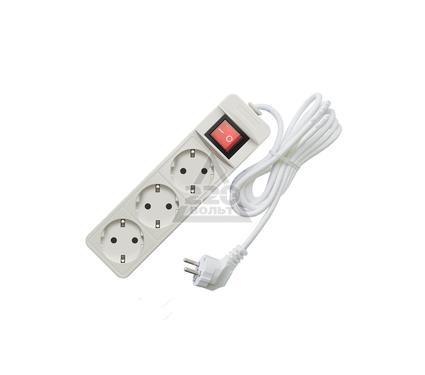 Удлинитель СОЮЗ 2200 Вт с заземлением, с выключателем 3гнезда ПВС 1,5м