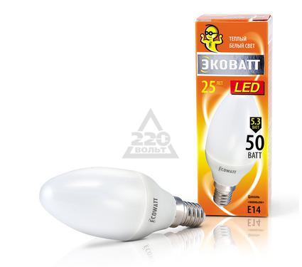 Лампа светодиодная ECOWATT B35 230В 5.3(50)W 2700K E14