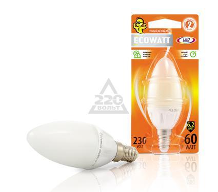 Лампа светодиодная ECOWATT B35 230В 6.2(60)W 2700K E14