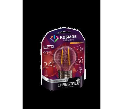 """Лампа светодиодная КОСМОС premium LED 2.4Вт Шар 45 """"Золотая Нить"""" E27 230В 3000K"""