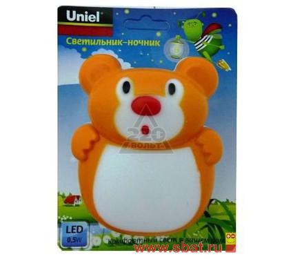 Ночник UNIEL DTL-301-Мишка/Orange/3LED/0,5W