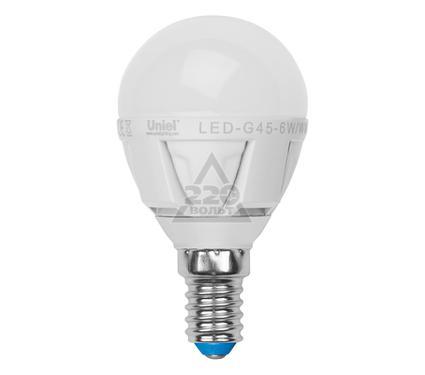Лампа светодиодная UNIEL LED-G45-6W/WW/E14/FR ALP01WH