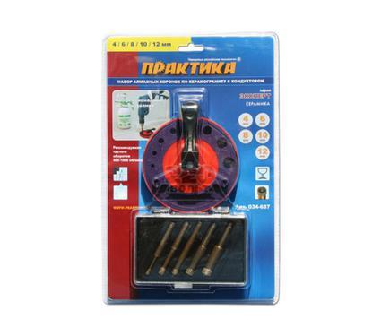 Кондуктор для сверления отверстий ПРАКТИКА 034-687 5шт. 4-12мм, алмазные по керамограниту