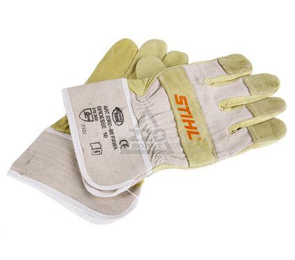 Перчатки спилковые STIHL комбинированные (кожа+материя), зелёные