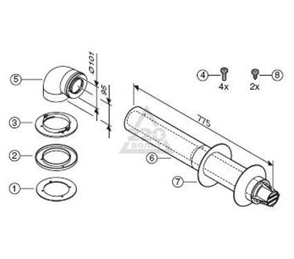 Коаксиальная труба для газового котла BOSCH AZ-388 425-775 мм
