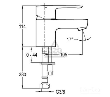 Смеситель для раковины JACOB DELAFON JULY E16027-4ND-CP