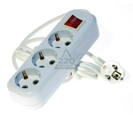 Удлинитель LUX У3-ЕВК-05  с выключателем 3-местный с заземлением, 220В 16А, 5м
