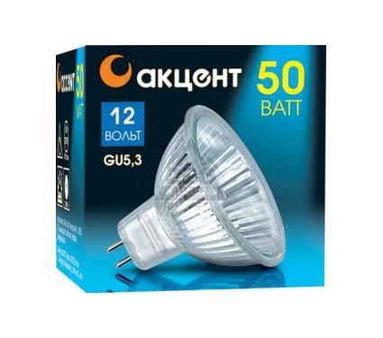 Лампа галогенная АКЦЕНТ MR16 12В  50W 36° GU5.3 с отражателем и защитным стеклом