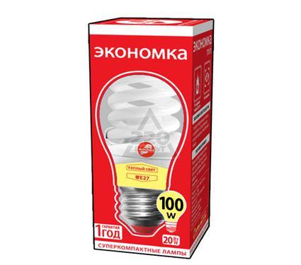 Лампа энергосберегающая ЭКОНОМКА 20Ватт 2700К Е27 Т2