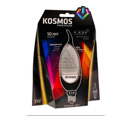 Лампа светодиодная КОСМОС LED 3Вт свеча на ветру E14 230v  4500K