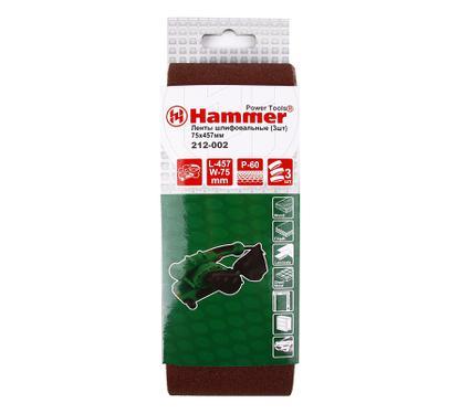 Лента шлифовальная бесконечная HAMMER 75 Х 457 Р 60  3 шт.