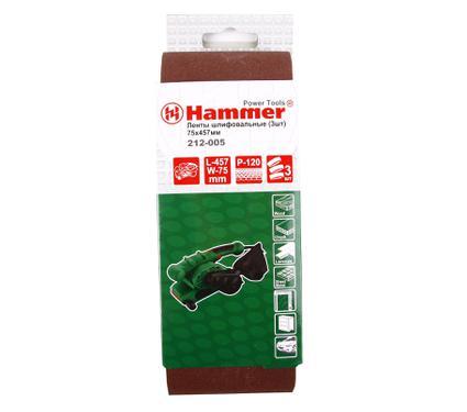Лента шлифовальная бесконечная HAMMER 75 Х 457 Р 120  3 шт.