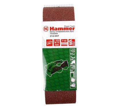 Лента шлифовальная бесконечная HAMMER 75 Х 533 Р 40  3 шт.