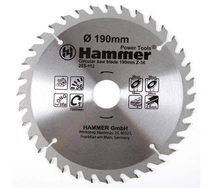 Диск пильный твердосплавный HAMMER 190х30/20/16мм 36 зуб.