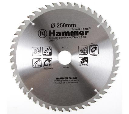 Диск пильный твердосплавный HAMMER 250х32/30мм 48 зуб.