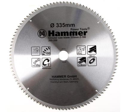 Диск пильный твердосплавный HAMMER 335х30мм 100 зуб.