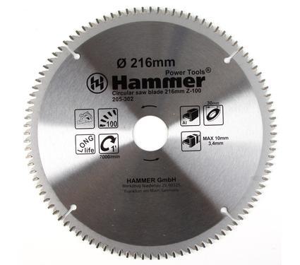 Диск пильный твердосплавный HAMMER 216х30мм 100 зуб.