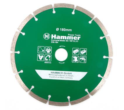 Круг алмазный HAMMER DB SG 180*22мм