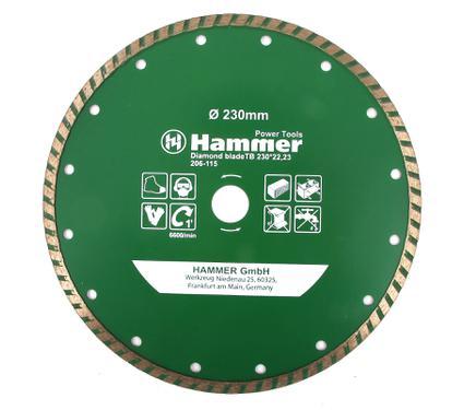 Круг алмазный HAMMER DB TB 230*22,мм