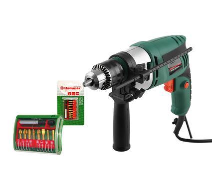 Набор: Дрель ударная HAMMER Flex UDD500LE 500В + Набор бит Hammer Flex 203-904 PB set No4 (9pcs)