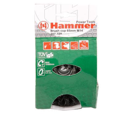Кордщетка HAMMER 207-109  65*0,5*M14 витая жесткая чашеобразная