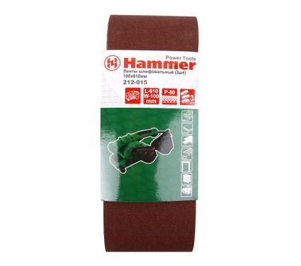 Лента шлифовальная бесконечная HAMMER 100 Х 610 Р 80  3 шт.