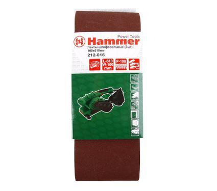 Лента шлифовальная бесконечная HAMMER 100 Х 610 Р 100  3 шт.