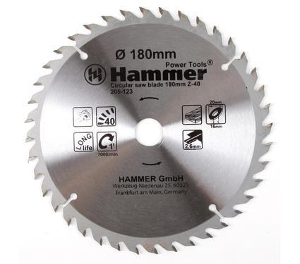 Диск пильный твердосплавный HAMMER 180х20/16мм 40 зуб.