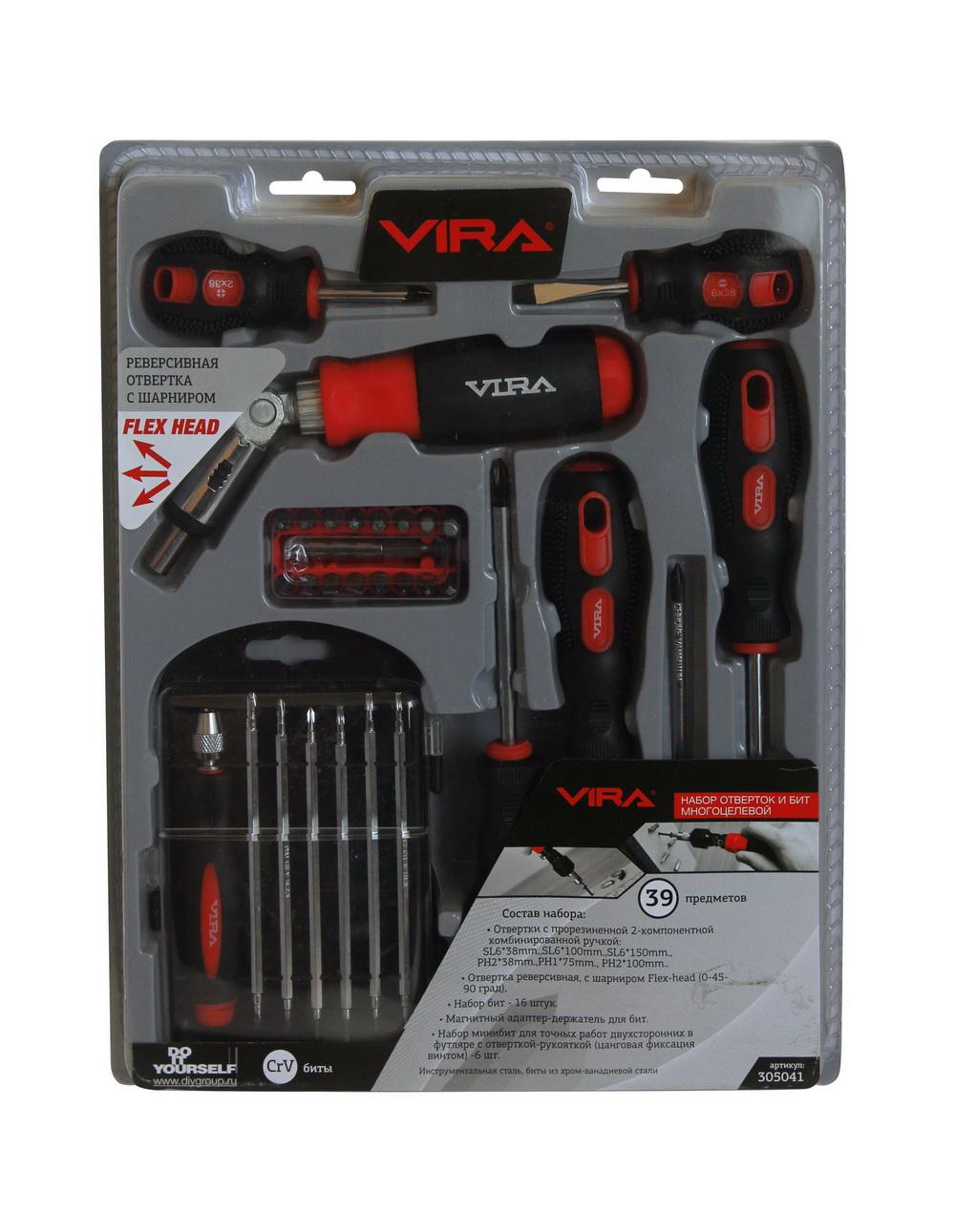 Набор отверток, 39 предметов Vira 305041 набор отверток 8 предметов центроинструмент 0558