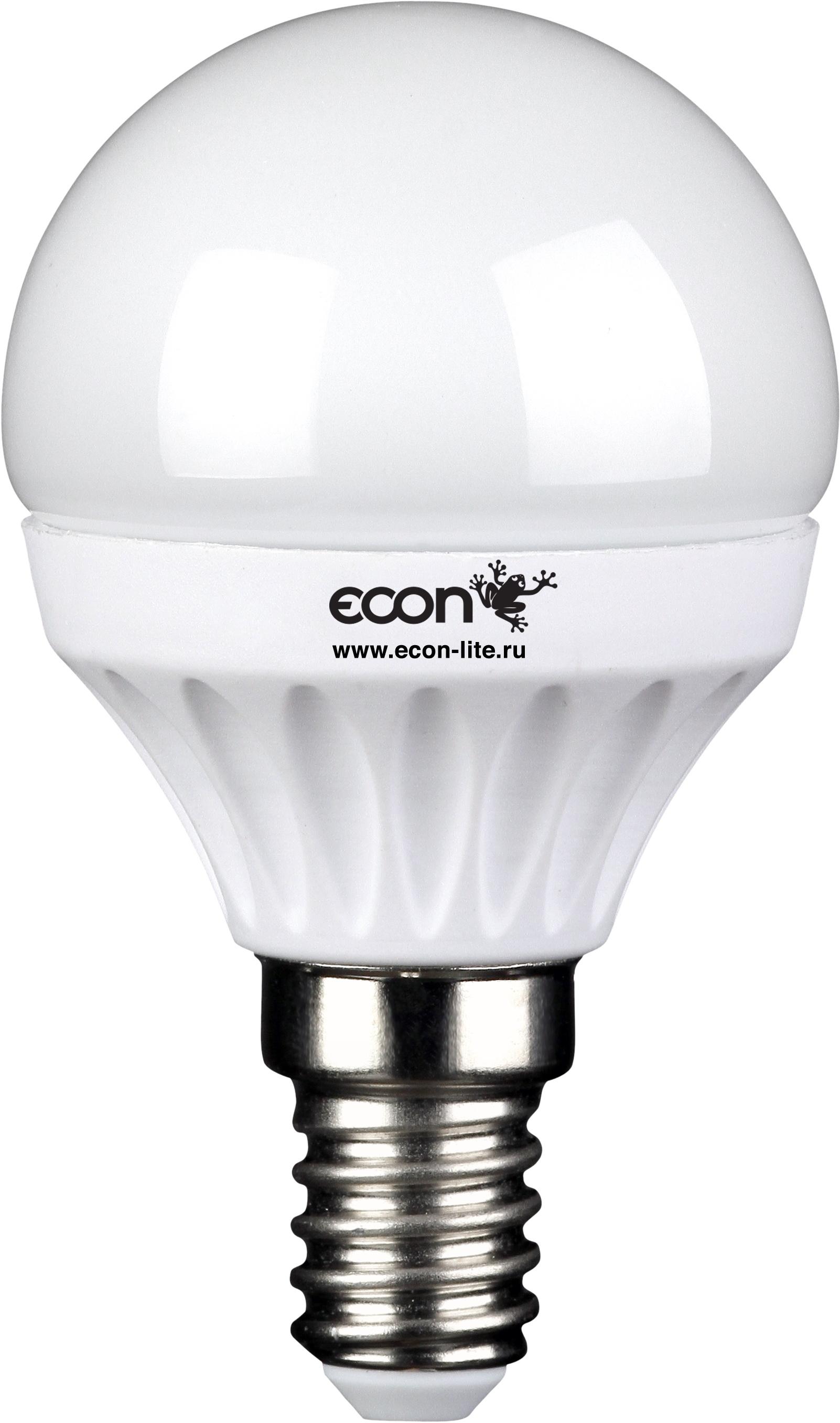 Лампа светодиодная EconЛампы<br>Тип лампы: светодиодная,<br>Форма лампы: шар,<br>Цвет колбы: прозрачная,<br>Тип цоколя: Е14,<br>Напряжение: 220,<br>Мощность: 5,<br>Цветовая температура: 3000,<br>Цвет свечения: нейтральный<br>