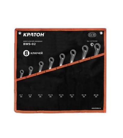 Набор накидных гаечных ключей в чехле, 8 шт. КРАТОН Bws-02 (6 - 22 мм) набор ключей накидных matrix полированный хром 8 шт