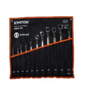 Набор накидных гаечных ключей в чехле, 11 шт. КРАТОН Bws-05 (8 - 27 мм) набор ключей накидных matrix полированный хром 8 шт