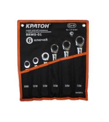 Набор гаечных ключей с трещоткой, 6 шт. КРАТОН Brws-01 набор накидных гаечных ключей в чехле 6 шт кратон bws 01 8 22 мм