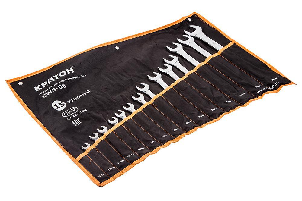 Набор гаечных ключей КРАТОН Cws-06 (8 - 32 мм) набор ключей комбинированных кратон cws 09 2 27 03 009 9 предметов