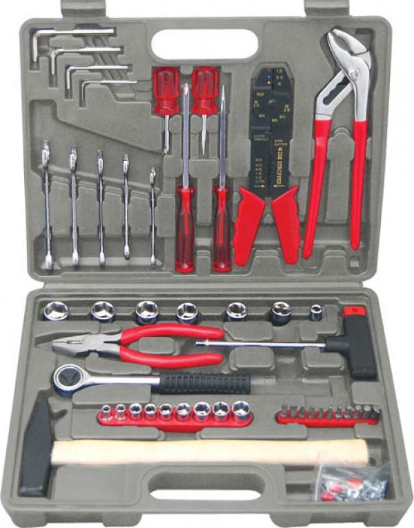 Набор инструментов в чемодане, 100 предметов КУРС 65090 набор инструментов 46шт great wall 405046 в чемодане