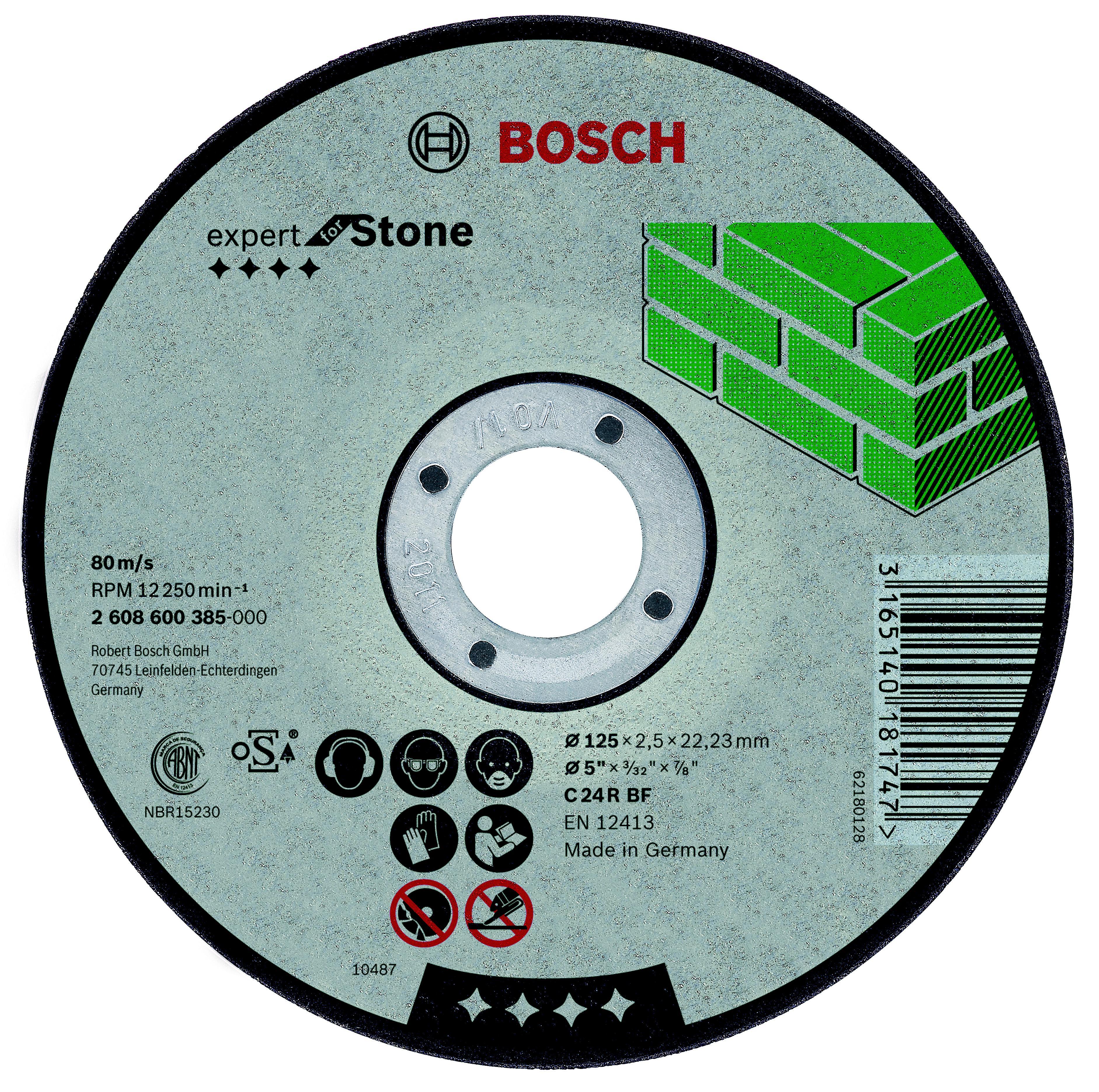 Круг отрезной Bosch 150x2,5x22 по камню (2.608.600.383) круг отрезной hammer 150 x 2 0 x 22 по металлу коробка 200шт