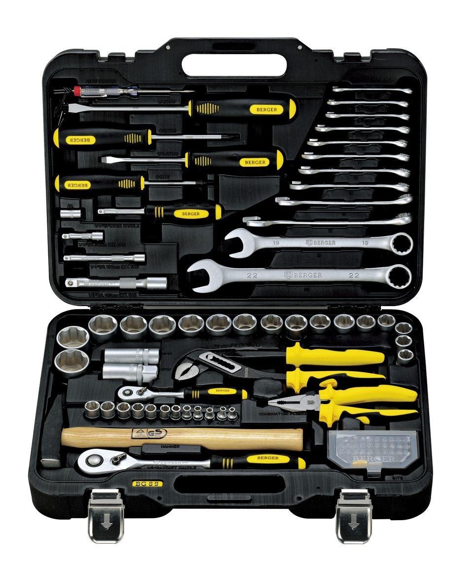 Набор инструментов в чемодане, 89 предметов Berger Bg089-1214 универсальный набор инструментов berger 151 предмет bg151 1214