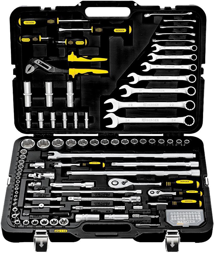 Набор инструментов в чемодане Berger Bg118-1214 универсальный набор инструментов berger 151 предмет bg151 1214