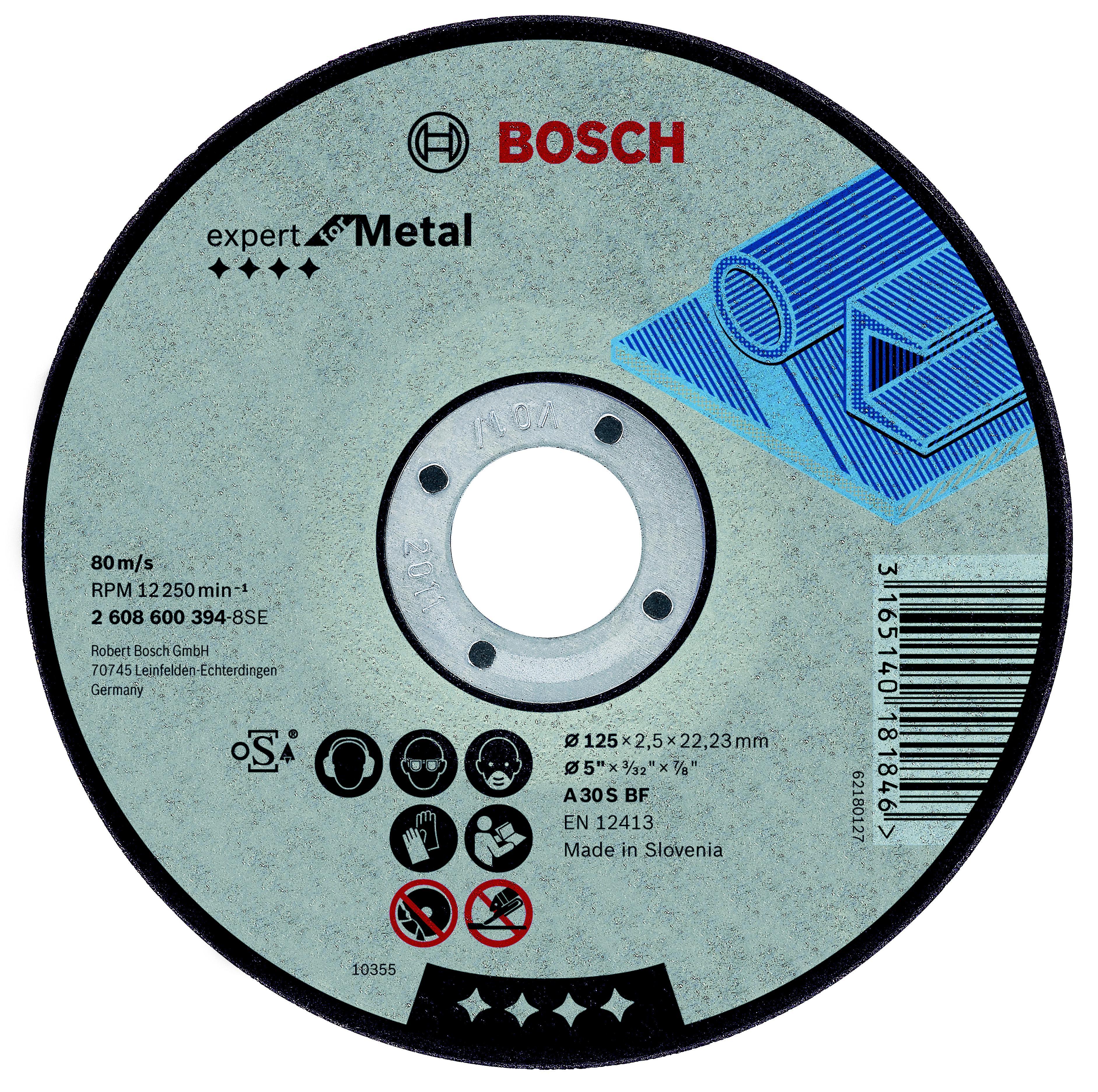Круг отрезной Bosch 125х2.5х22 expert for metal (2.608.600.394) круг отрезной bosch expert for metal 230x1 9x22 2 608 603 400