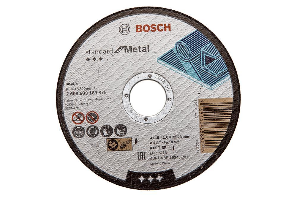 Круг отрезной Bosch 115х1.6х22 standard for metal (2.608.603.163) 0 127mm standard stainless steel wire brush for metal anilox roller