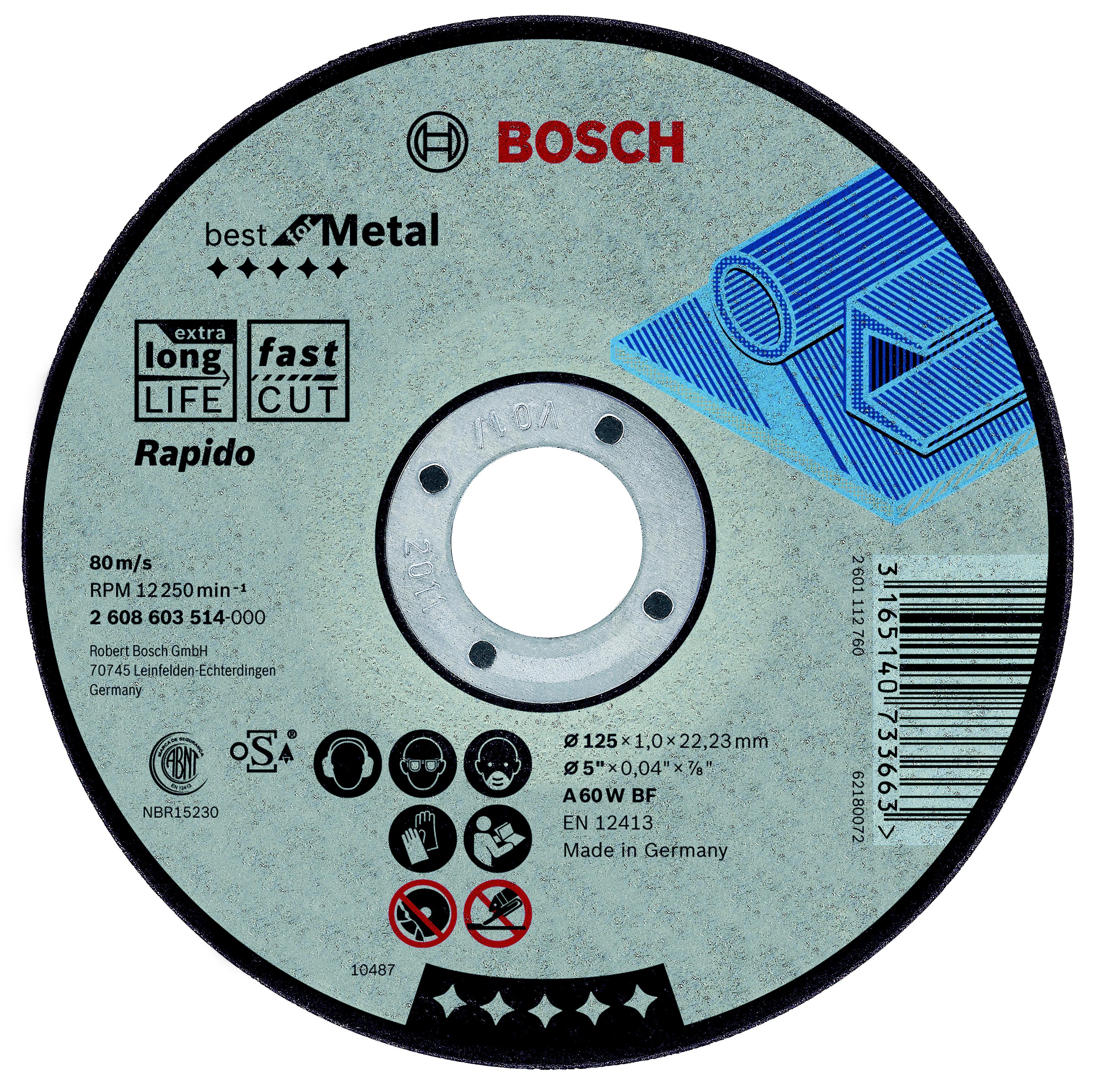 Круг отрезной Bosch 115х1х22 best for metal (2.608.603.512) круг отрезной bosch 115х1 5х22 best for metal 2 608 603 517