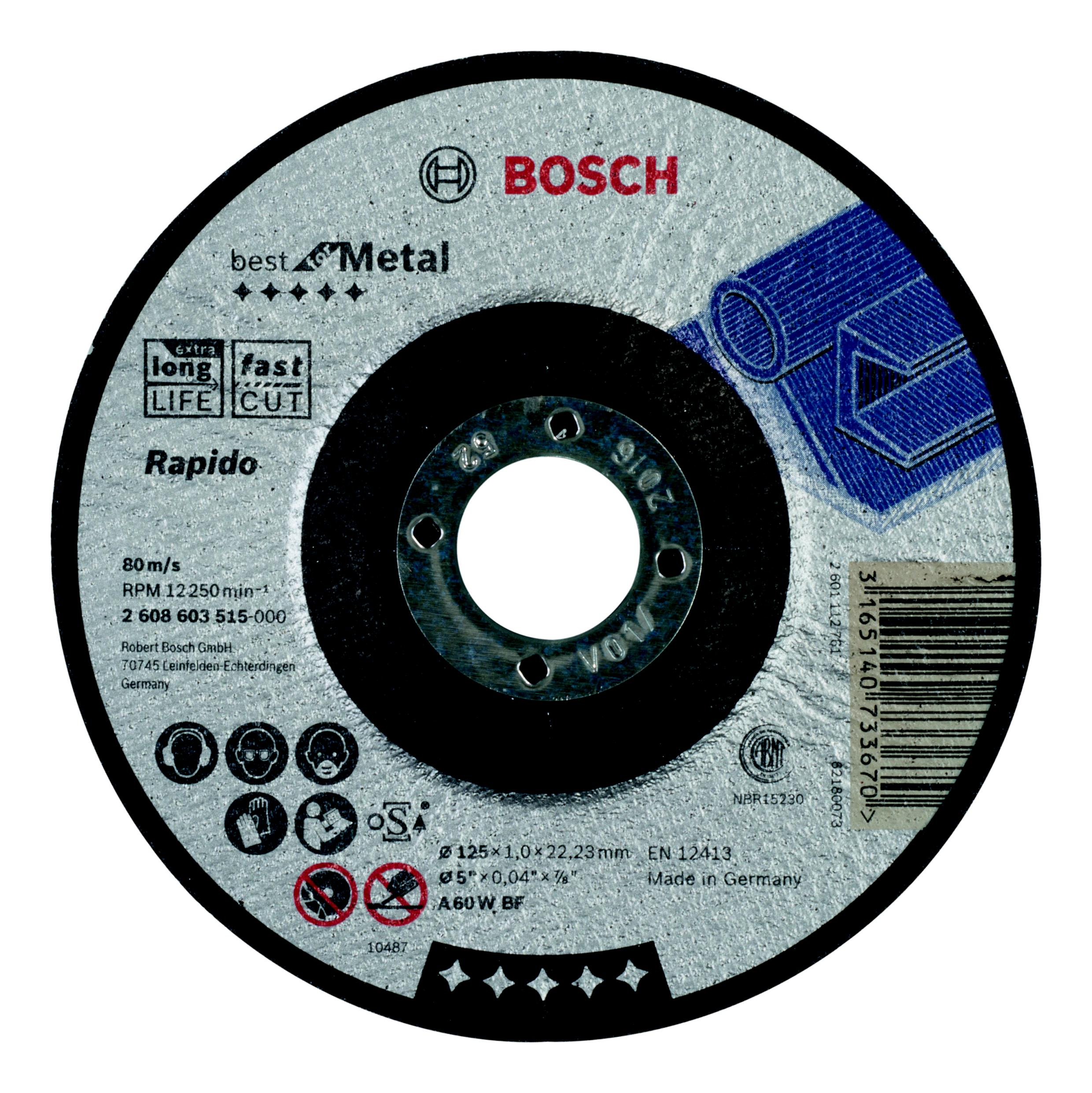 Круг отрезной Bosch Best for metal 125x1,0x22 выпуклый (2.608.603.515) bosch best for metal 2608606923