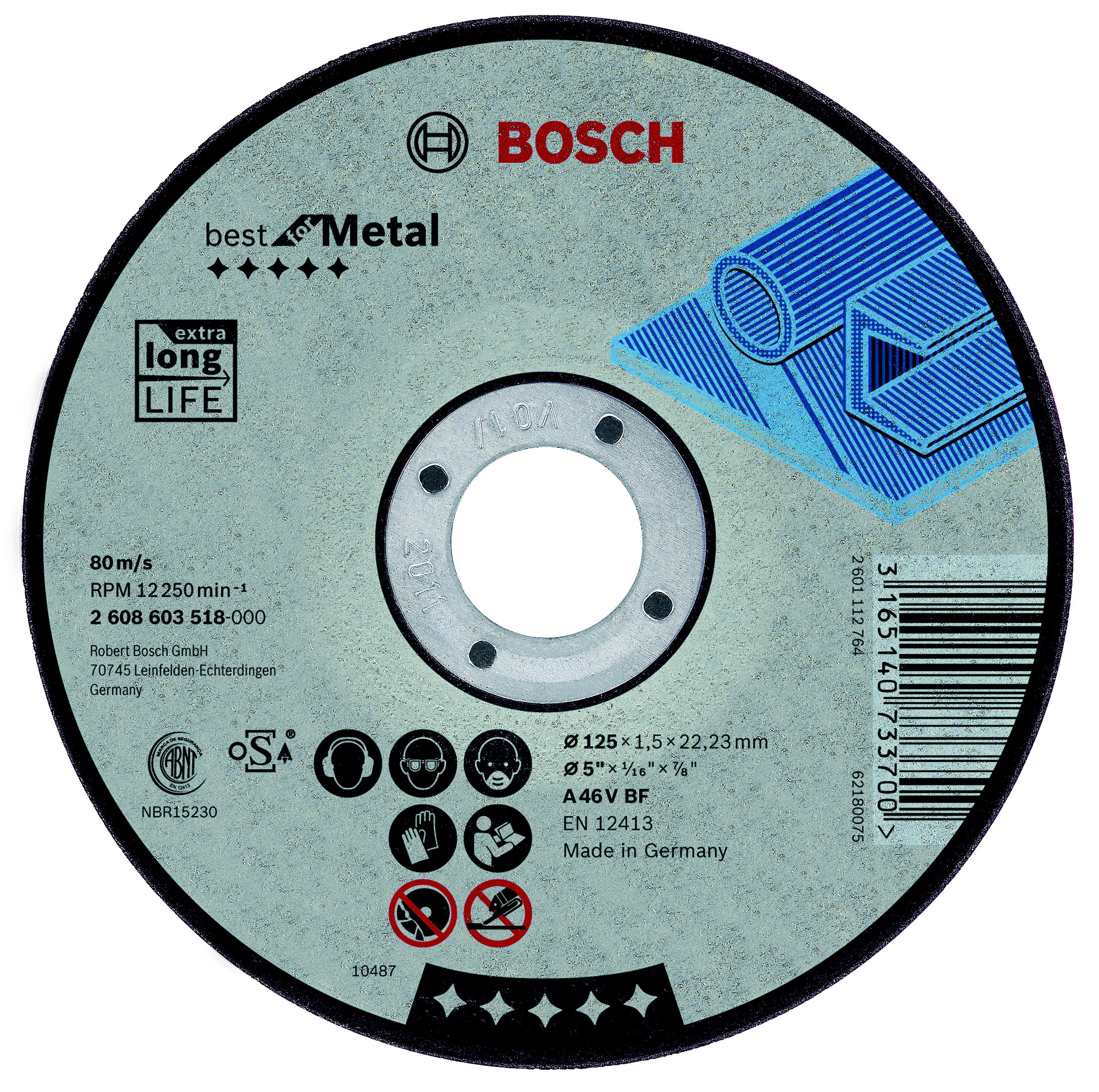 Круг отрезной Bosch Best for metal 115x1,5x22 выпуклый (2.608.603.517) bosch best for metal 2608606923