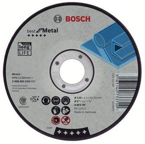 Круг отрезной Bosch Best for metal 125x2,5x22 выпуклый (2.608.603.527) bosch best for metal 2608606923