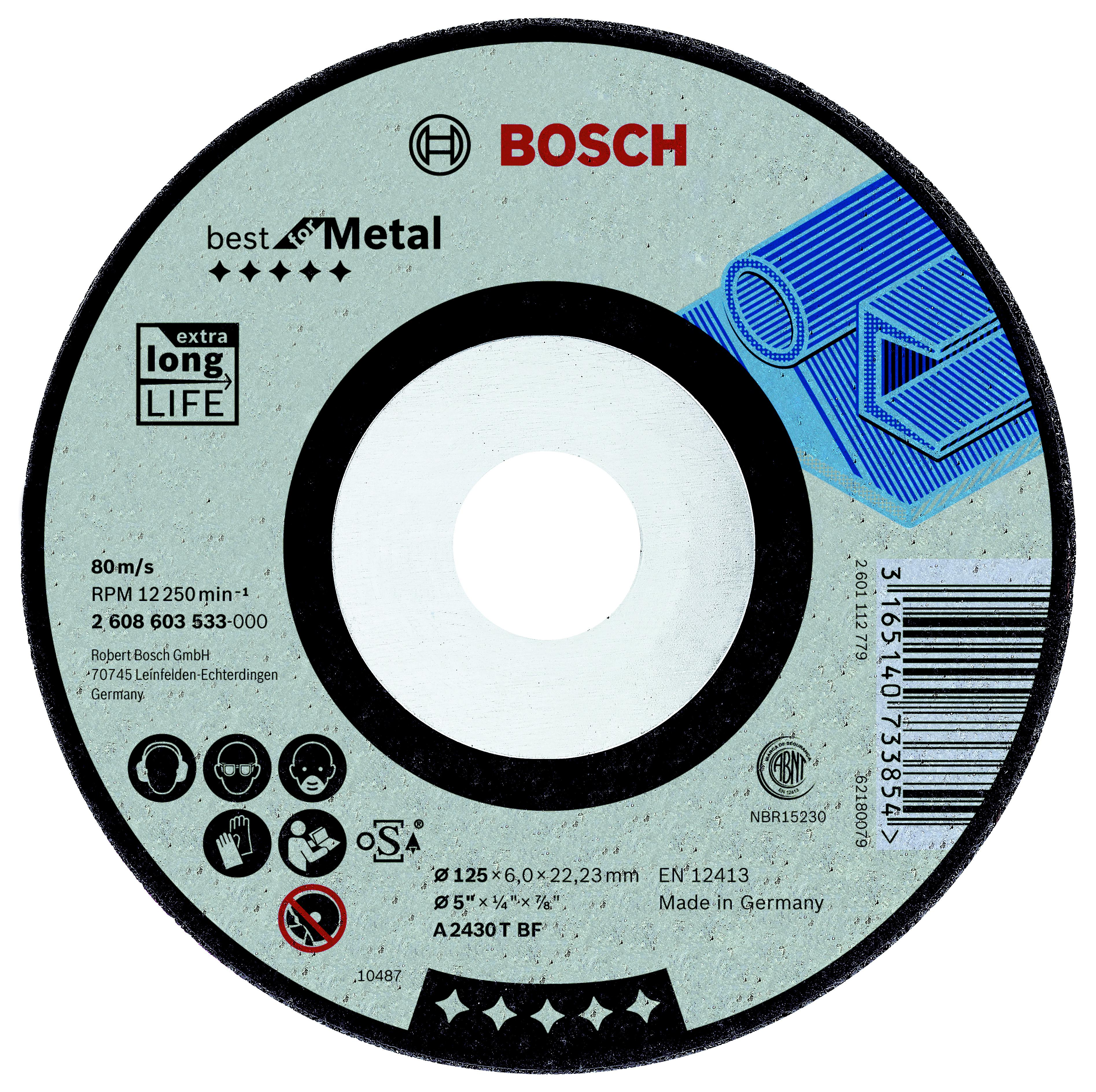 Круг зачистной Bosch Best for metal 125x7x22 (2.608.603.533) bosch best for metal 2608606923