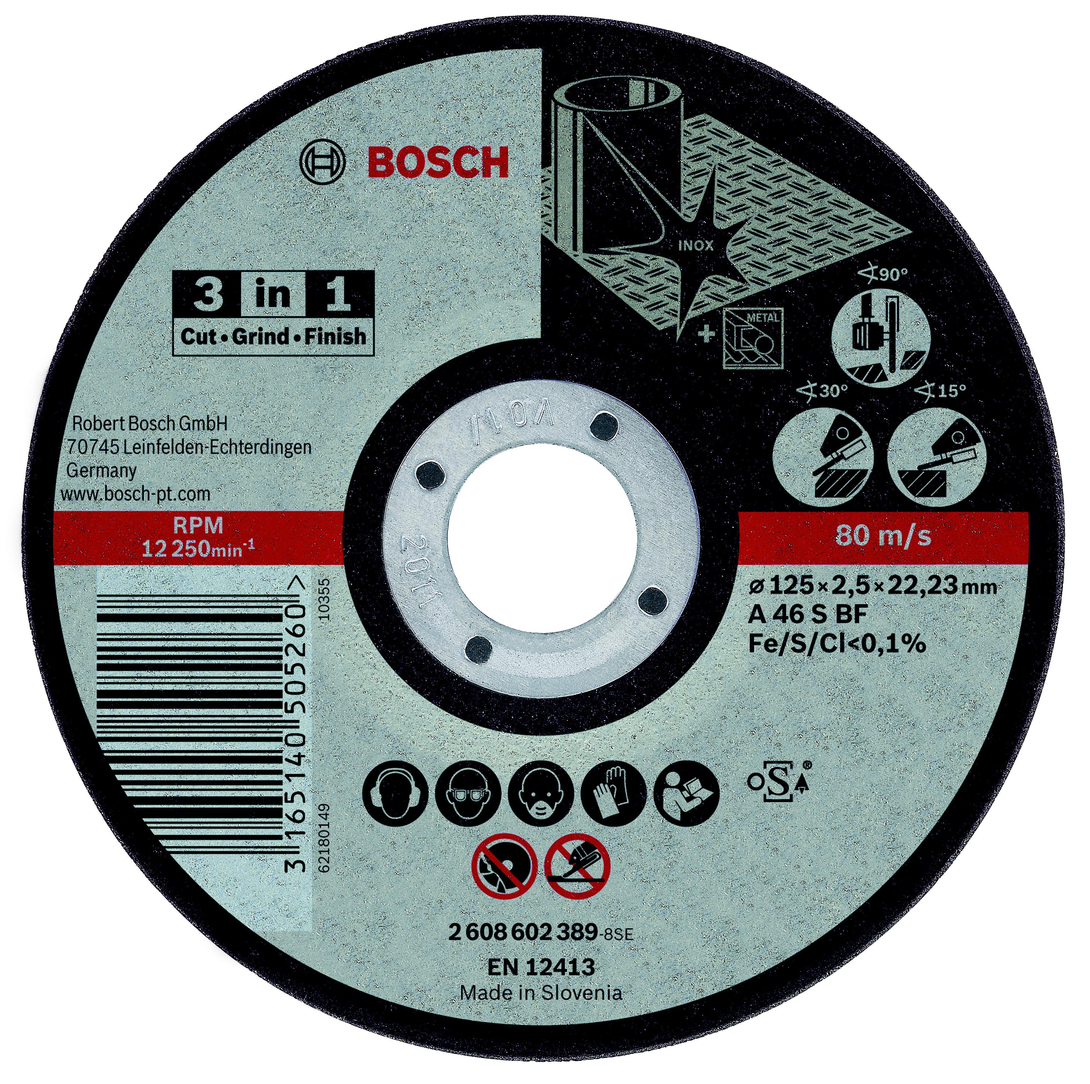 Фото 2/2 Bosch 3 in 1, 125 Х 2,5 Х 22, по нержавеющей стали, Круг отрезной