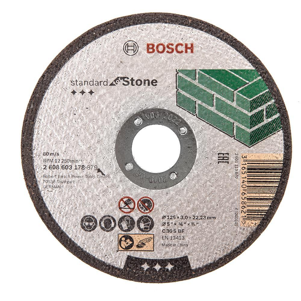 Круг отрезной Bosch 125х3х22 standard for stone (2.608.603.178) круг отрезной bosch bosch 3 in 1 115x2 5x22 по нерж 2 608 602 388