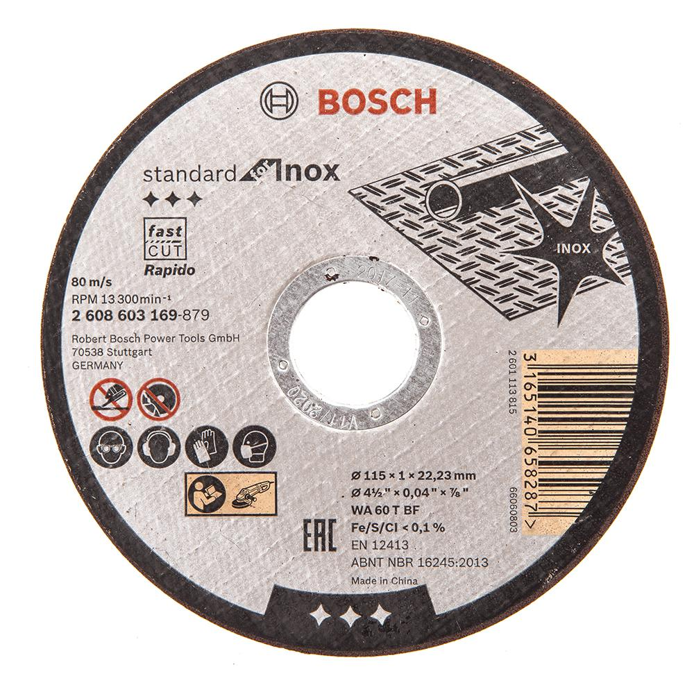 Круг отрезной Bosch 115х1х22 standard for inox (2.608.603.169) диск отрезной bosch standard