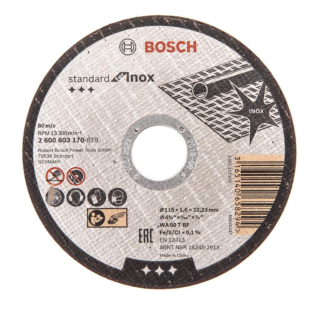 Круг отрезной Bosch 115х1.6х22 standard for inox (2.608.603.170) диск отрезной bosch standard